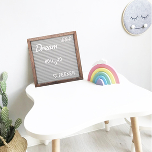 Gray Felt Letter Board Message Board 10 X 10 Inches Includes 360 Letters, Numbers and Symbols wood stand