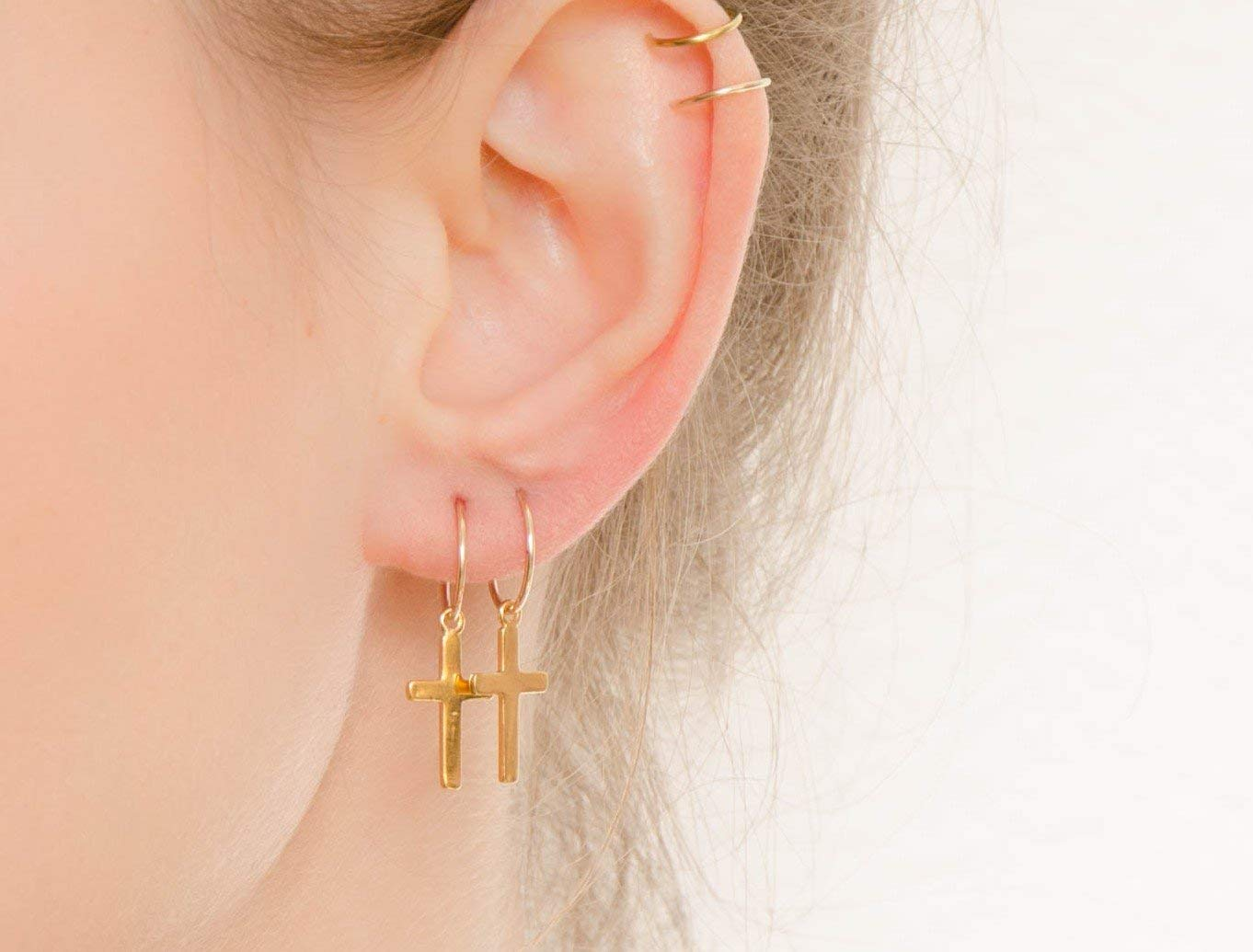 Get Quotations Cross Hoops Earrings Simple Minimalist Gold Filled Jewelry