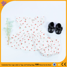 ins 0-3 Girls' Baby Set Cherry Print Flying Sleeve Dress Shorts Set