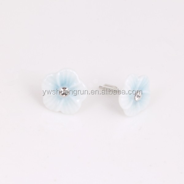 Charm stainless steel needle white ceramic earring with blue colored