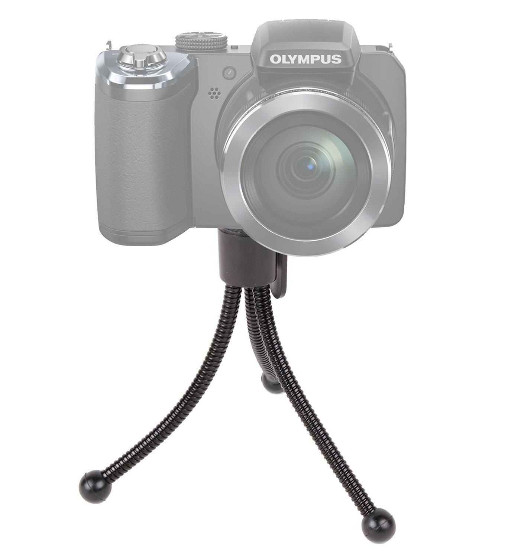 DURAGADGET Lightweight Bendy Travel Tripod with Flexible Legs for Olympus SP-820UZ Compact Digital Camera - Black (14MP, 40x Wide Optical Zoom) 3 inch LCD Screen & Panasonic DMC-FZ72 EB-K Lumix Camera - Black (16.1MP, Super Telephoto 60x Optical Zoom, 20mm Ultra Wide Angle Lens)
