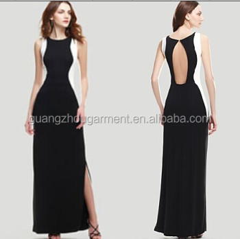 Fashion Design Sheath Sexy One Shoulder Long Half Black Half White
