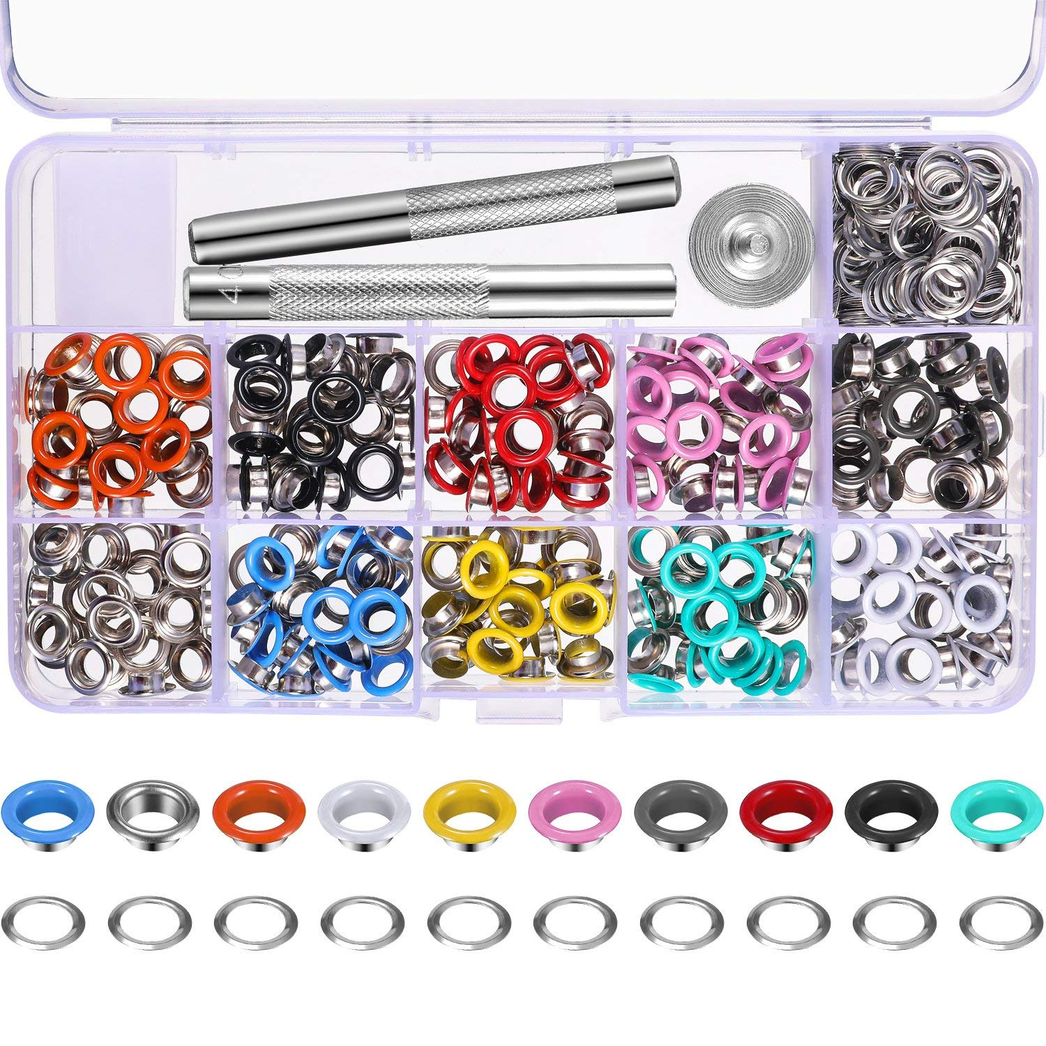 Bememo 300 Pieces Grommets Kit Metal Eyelets Shoes Clothes Crafts, 10 Colors (1/4 inch)