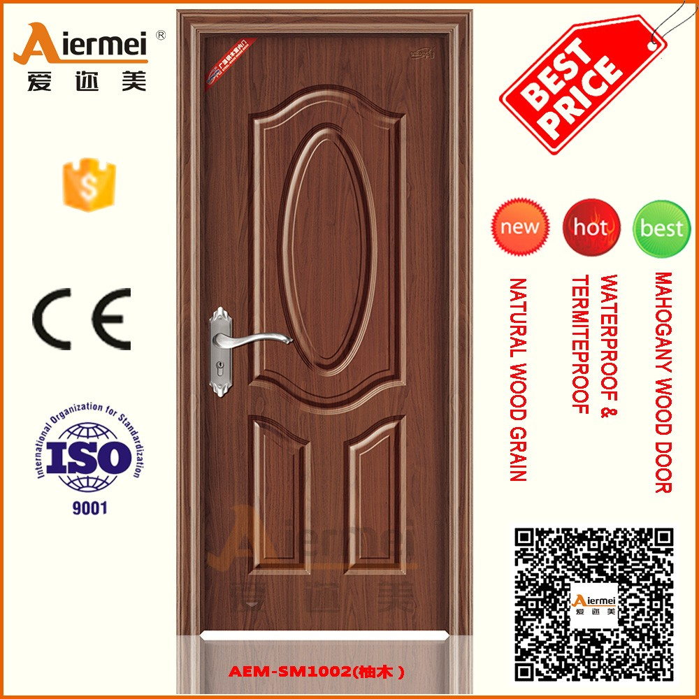 Chinese price solid wood core pvc film interior steel door colored teak wood main door designs