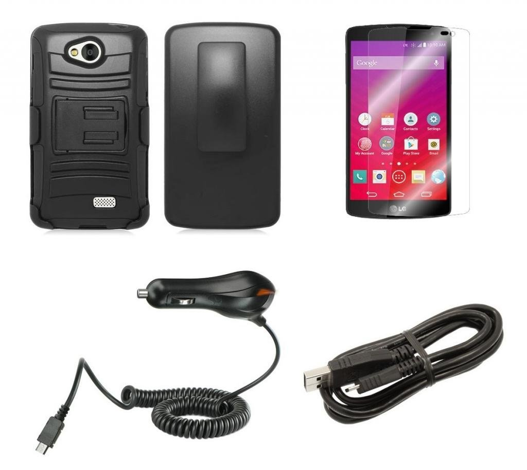 LG Transpyre VS810PP (Verizon Wireless) - Black Impact Armor Kickstand Hybrid Cover Case + Locking Swivel Belt Clip Holster + Atom LED Keychain Light + Screen Protector Guard + 1A (1100 mAh Output) Rapid Micro USB Car Charger + Universal Micro USB Cable
