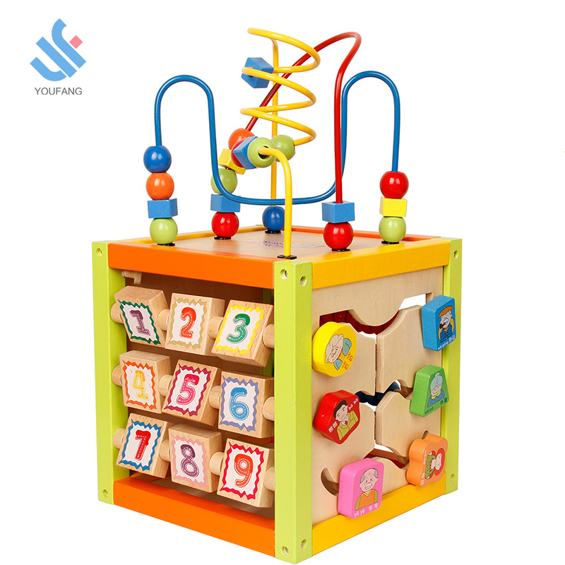 YF-D2878 Wholesale educational popular multifunction wooden bead maze toy for <strong>kids</strong>