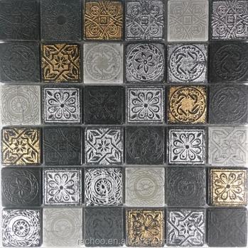 Spanish Resin Mosaic Carve Patterns Square Shaped Tiles