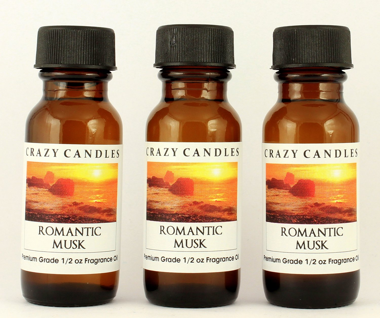 Romantic Musk (Aromatherapy) 3 Bottles 1/2 Fl Oz Each (15ml) Premium Grade Scented Fragrance Oil Crazy Candles (Very Wearable Scent, Excellent with Bath Products, Potpourri and Candles)