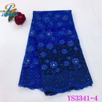 YS3341-4 Online Good price royal blue nigeria chemical lace embroidery with small flowers for party