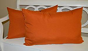 Set of 2 - Indoor / Outdoor Jumbo, Large, Over–sized, Rectangle / Lumbar Chaise Lounge Decorative Throw / Toss Pillows - Solid Pottery / Clay / Rust Orange