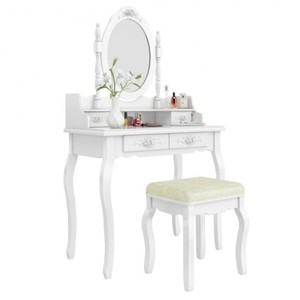 Stool White Picture Makeup Dressing Table With Folding Mirror