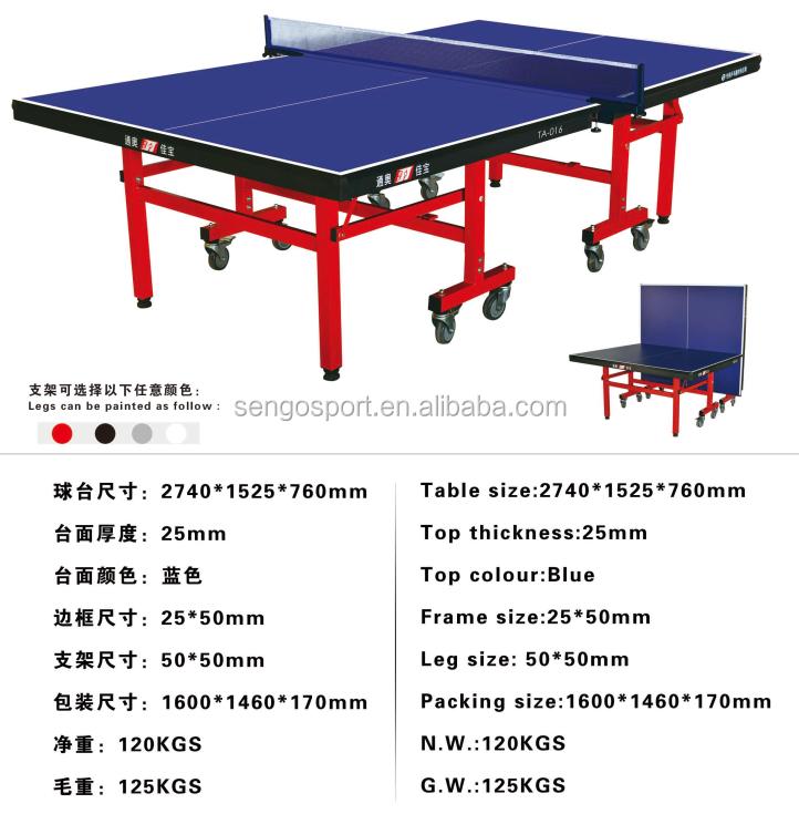 25mm Thickness Folding Waterproof Ping Pong Table