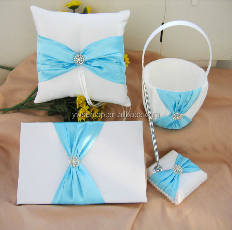 Light Blue Bow-knot With Beads Decoration Wedding Guest Book /pen ...
