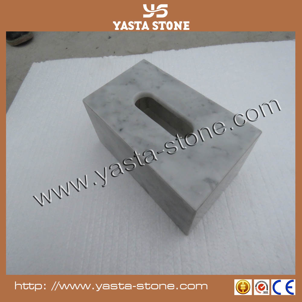 Fancy white grey vein marble stone free standing toilet paper holder