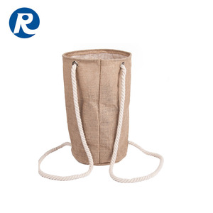 Ruiding 2018 Hot Sale Custom Eco-friendly Cylinder Jute Drawstring Bag Backpack