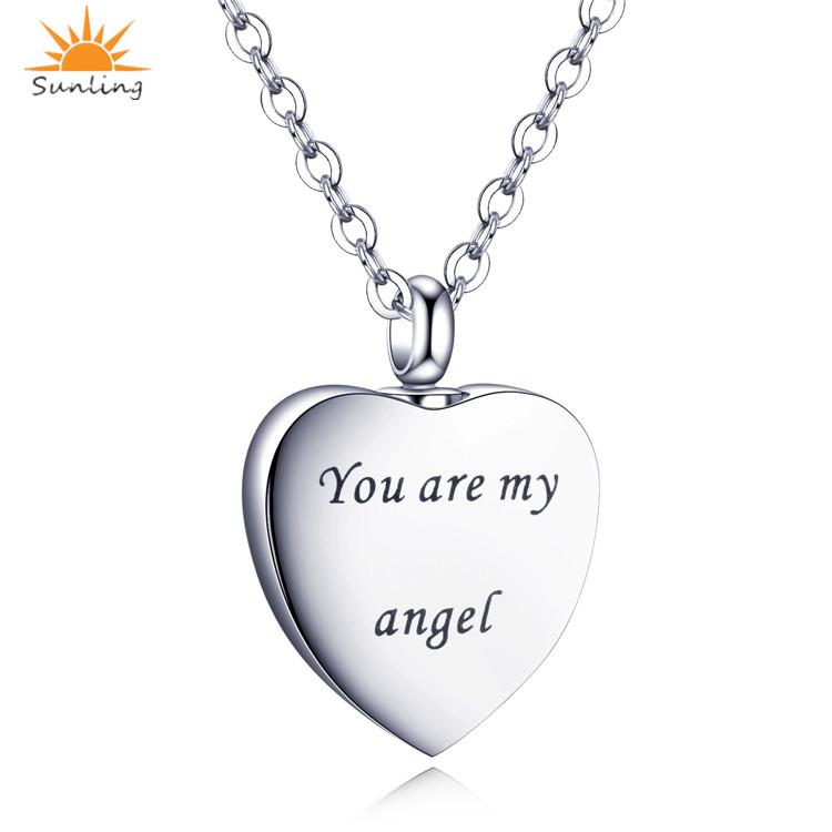 93fb342bd799 Plata al por mayor personalizado de acero inoxidable ángulo corazón  cremación urnas collar joyería colgante para