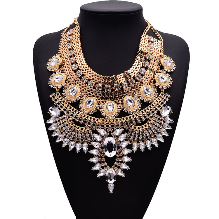 NK-189011 Boho Statement Necklace Fashion Long Gold Bohemian Indian Jewelry for Women Big Ethnic Costume Jewelry фото