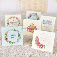 pretty flower wreath folding message card with envelope Kawaii Christmas New Year blessing greeting card Gift card holiday