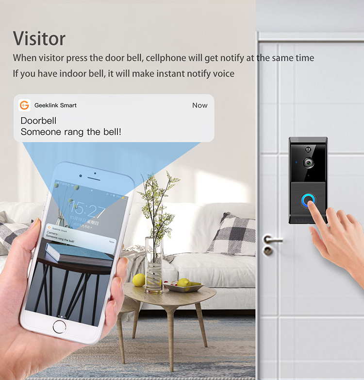 Geeklink Two-way Loud Audio first rate Quality home security video intercom wireless smart intercom doorbell camera wifi