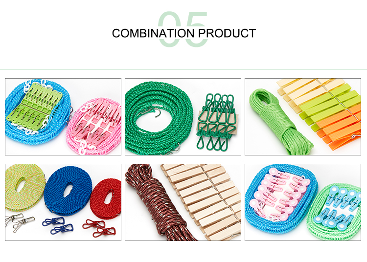 Hot Sale Elastic Retractable Windproof Travel Clothesline Pins Rope With Stainless Steel Hooks