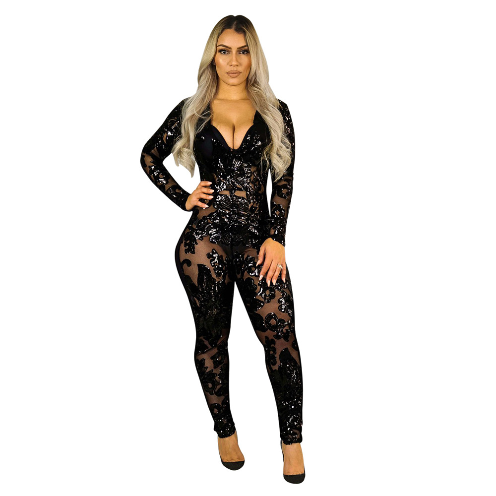 Latest sexy transparent deep V-neck decorate sequined bandage long jumpsuit women 8522 фото