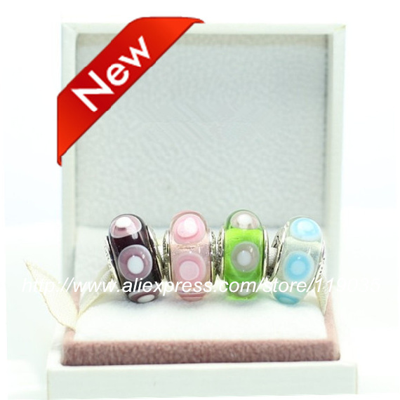 S925 Sterling Silver Screw Stone Murano Glass Bead Sets With Charm Box Fits European Jewelry Bracelets Necklaces & Pendants