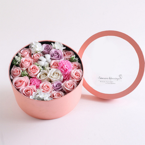 Creative cardboard paper tube rose packaging luxury flowers round hat box with transparent window lid