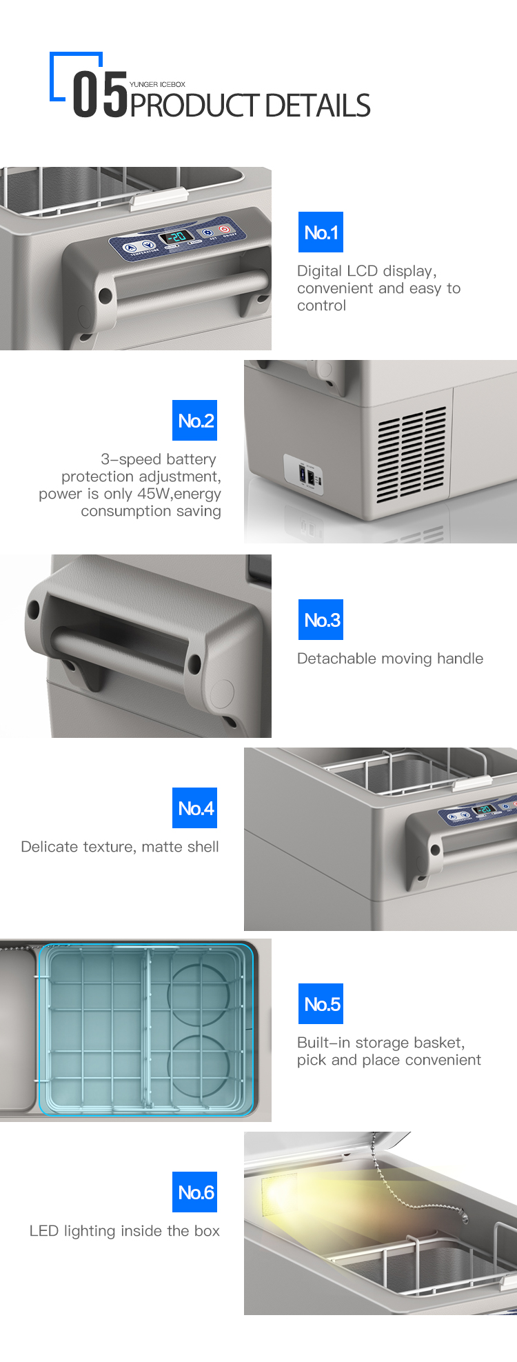 Factory direct sale 52L DC 12/24V portable compressor refrigerator freezer car fridge for camping