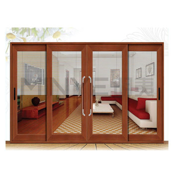 Wood Grain Finished Aluminum Glass Sliding Doors Interior Frosted