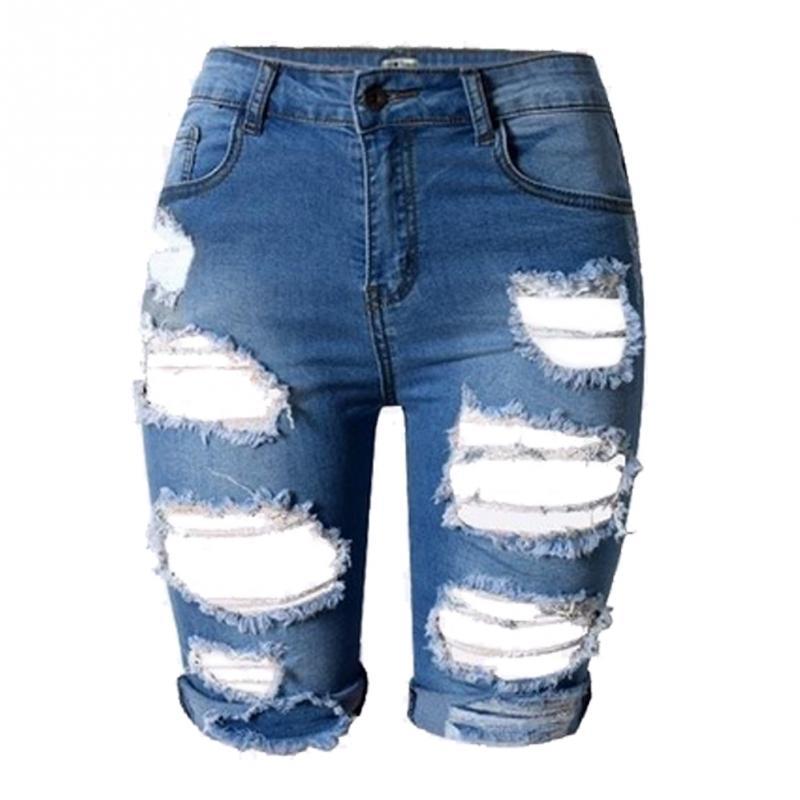 5bdaaeab57 2019 Wholesale Summer High High Waist Shorts Women Denim Shorts ...