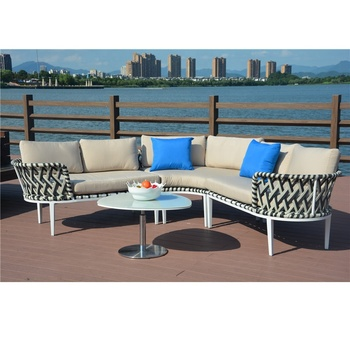 Half Moon Shaped Rope Outdoor Patio Conversation Garden Furniture Lounge Chair