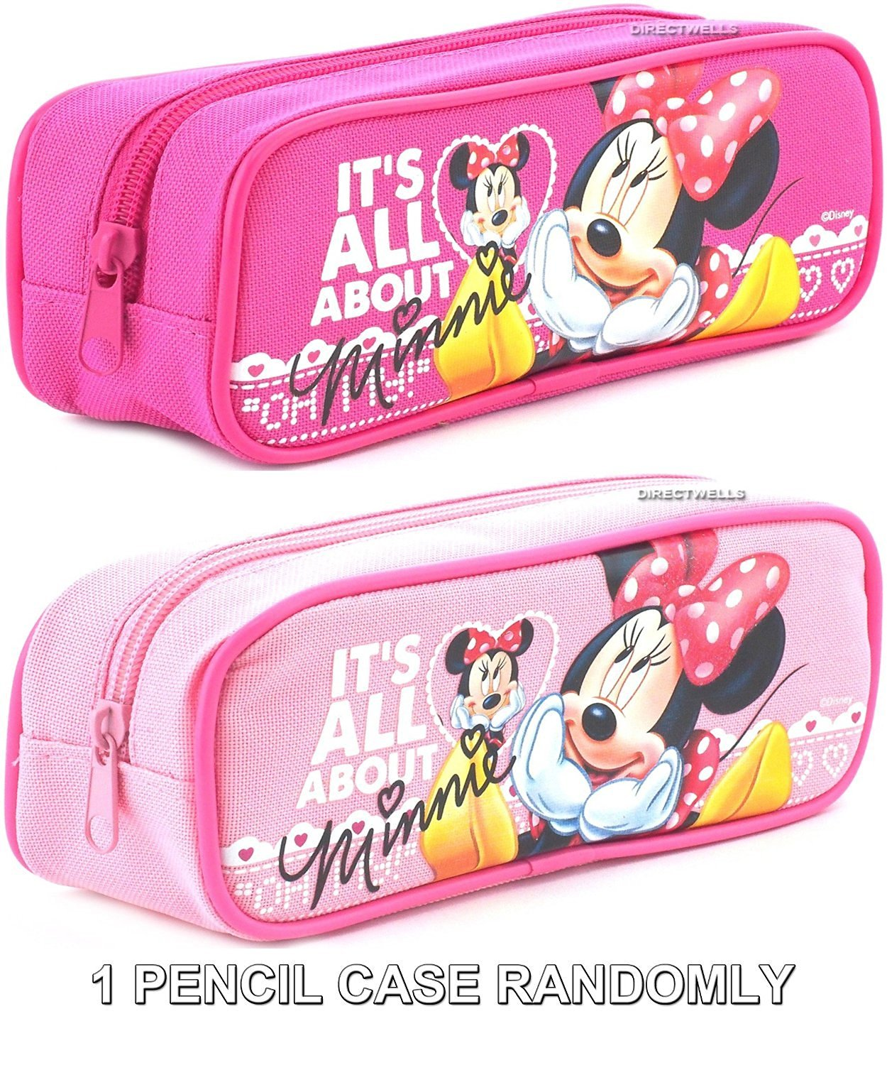 """Disney Minnie Mouse """" It's All About Minnie """" Pink or Hot Pink Pencil Case Randomly (1 PENCIL CASE)"""