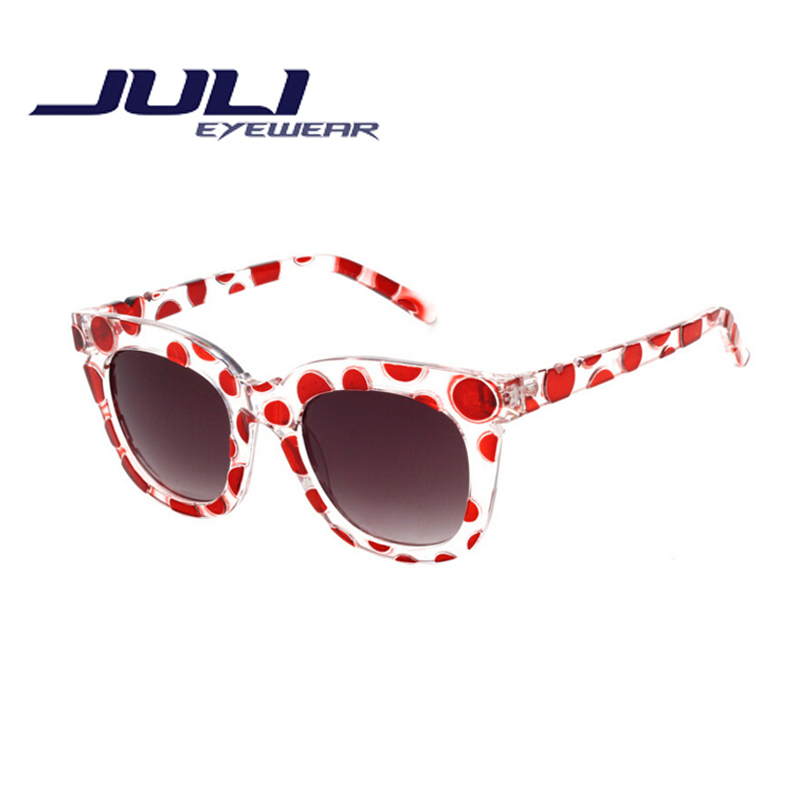 264bcab108a2 JULI 2016 New Fashion Woman Round Sunglasses Polka dots frame Sun Glasses  Candy Color Female Glasses