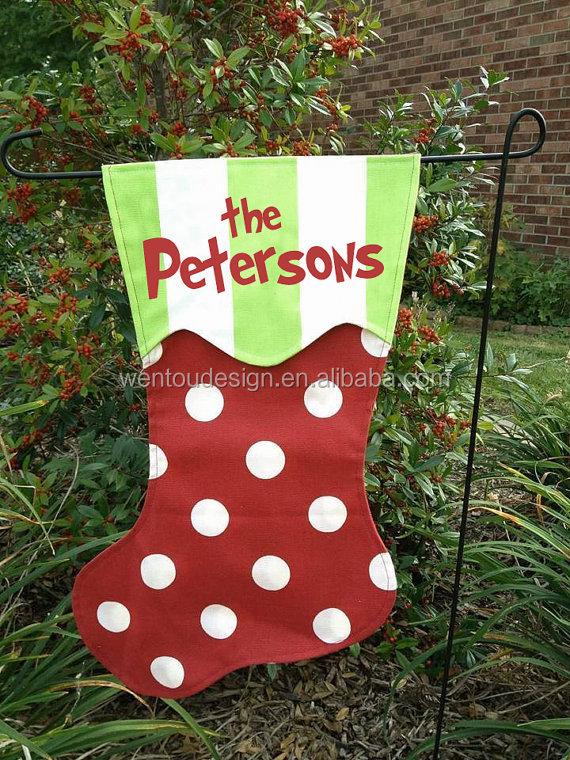 Wholesale Monogram Christmas Stocking Garden Flag - Buy Stocking ...