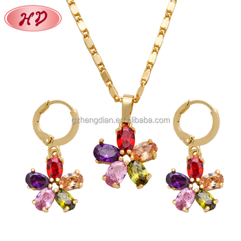 African Nigeria Bridal 18k Gold plated Jewelry Set 2015 Fashion Women zirconia Necklace Earring Set parure bijoux femme