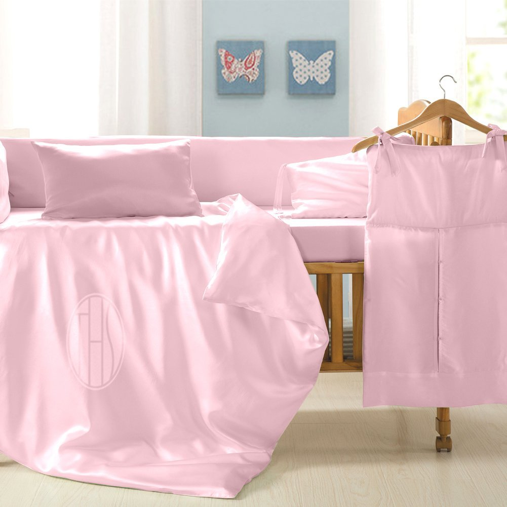 THXSILK 13 pcs Mulberry Silk Baby Crib Nursery Bedding Set, Pink
