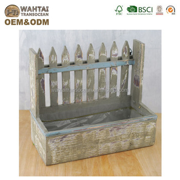 Wooden Fence Planter Box Charming Distressed Finish Flower Pot