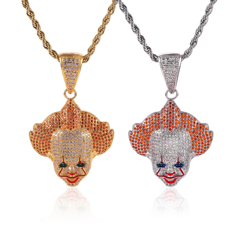 Hip Hop Cartoon Clown Pendant Copper Micro pave with CZ stones Necklace Jewelry for men and women CN038