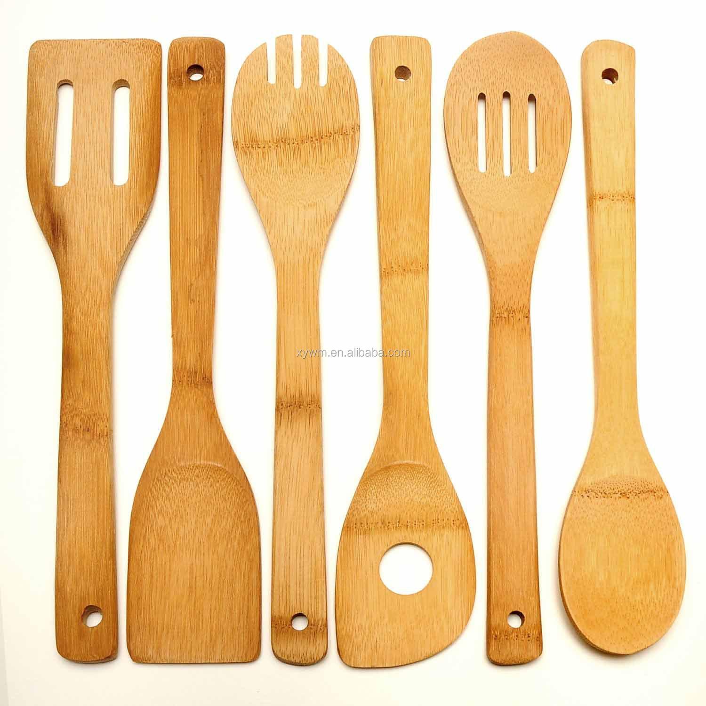 Bambou bois outils cuisine cuillères spatule cuisine en bois 6H