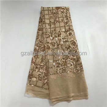 AQ3011#1 gold lace with sequines french net lace textile fabric for wedding christmas