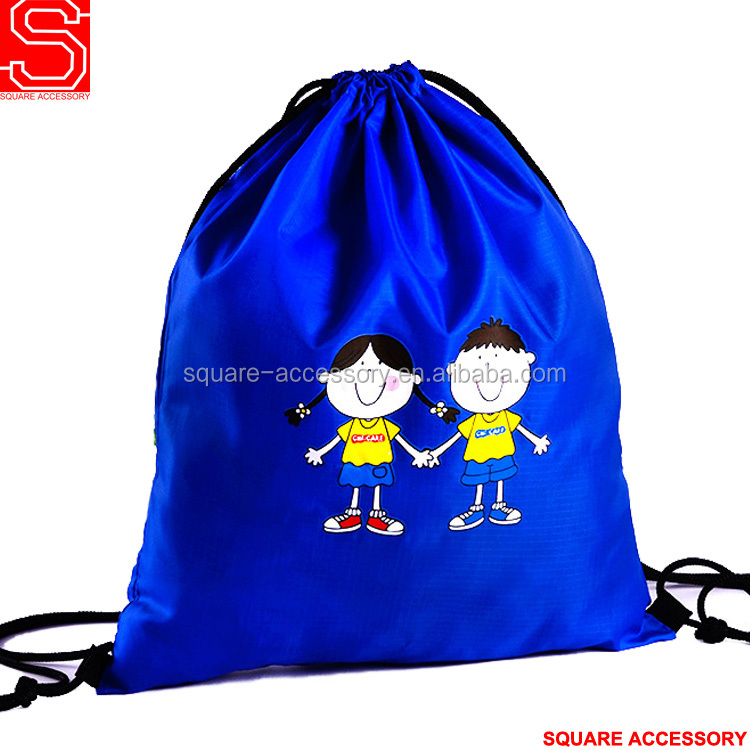 Custom printed lightweight cute polyester string bag drawstring backpack