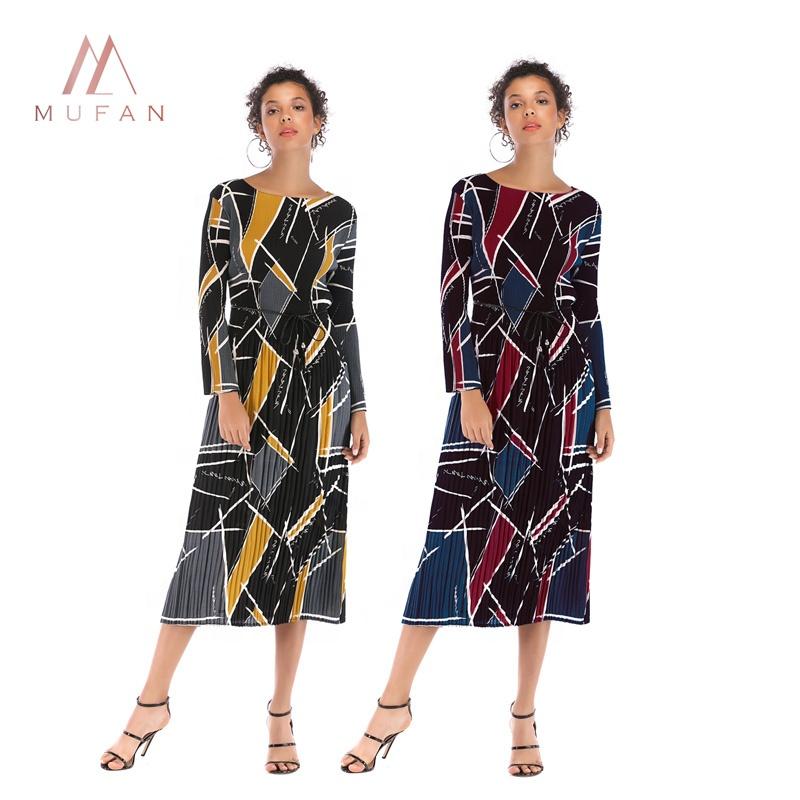 0362cd58b02e1 2019 bahar sıcak afrika kadın renk uzun kollu bordo geometrik desen elbise