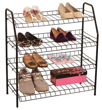 Stackable Shoe Racks 4 Shelf Stacked Metal Wire Rack