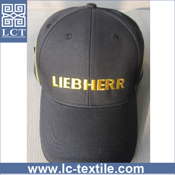 wholesale unique design classic six panel cotton twill black baseball cap strap adjuster with piping on back(LCTC0285)