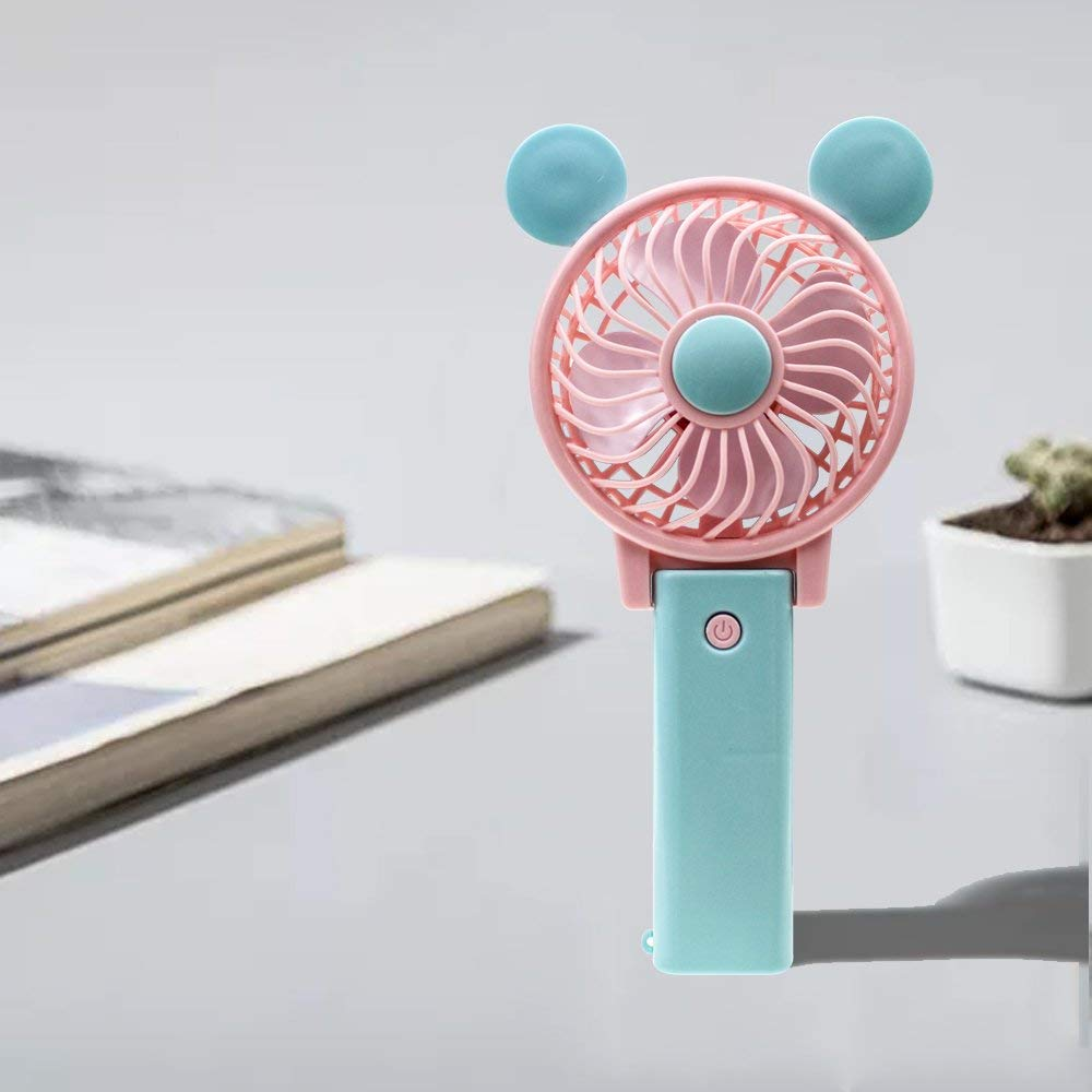 YINGLI SOLAR Newest Cartoon USB Charging Fan,Foldable and Portable Desk Fan,Mini Handheld Fan Cooling and Cute for Home,Office,Outdoor,Travelling,Hiking