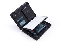 Customized Design Compact Deluxe Leather Padfolio Case Black