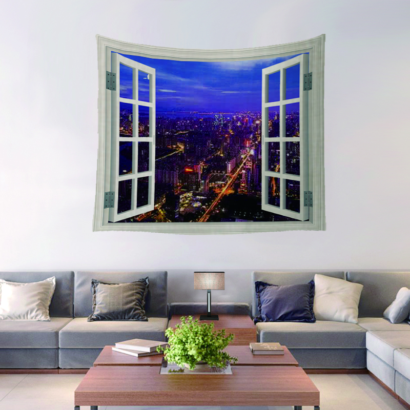 Window Custom Made Home Decorative Wall Tapestry Custom Tapestry For Home Usage