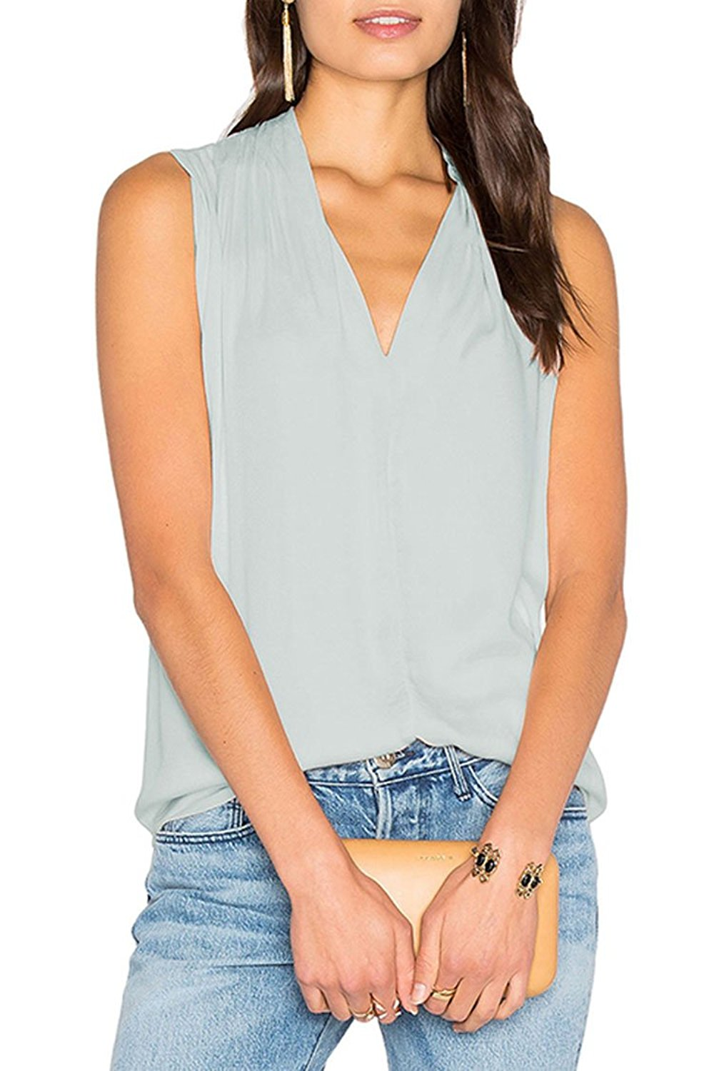 1c9be0b19a9 Get Quotations · Selowin Womens Sexy Solid Sleeveless Satin Chiffon Plunge V  Neck Blouse Tank Shirts Top