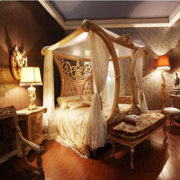 Bisini Baroque Antique Chippendale Italian Style Solid Wood Hnad Made Palace Canopy Bed For Bedroom Furniture Bf05 1013 Buy King Canopy Wood