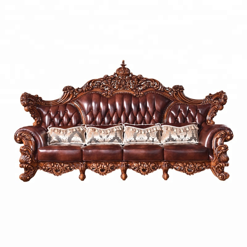 Antique American Style Sofa For Living Room Furniture Lobby Genuine Leather Victorian